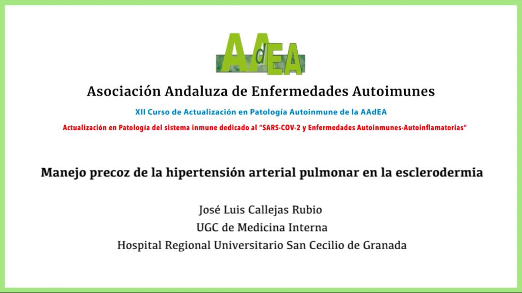 Ponencia 4: Manejo precoz de la hipertensión arterial pulmonar en la esclerodermia
